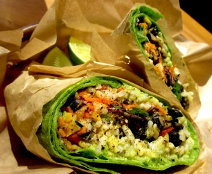 Veggie burrito (minus the cheese) in a spinach tortilla. This was good, but I definitely prefer the filling to the tortilla. Hence my obsession with the veggie burrito bowl.