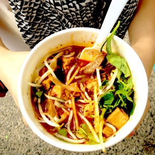 Bún Bò Huế Chay (vegan beef noodle soup) from Nammi's Food Truck. Their broth was somewhat salty for my tastes, but I was impressed that they offered this dish. Extra limes with mine, please!