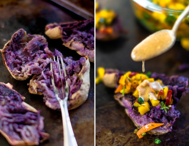 Rainbow Smashed Purple Potatoes + 5 Spice Peanut Sauce | plantcrush.co