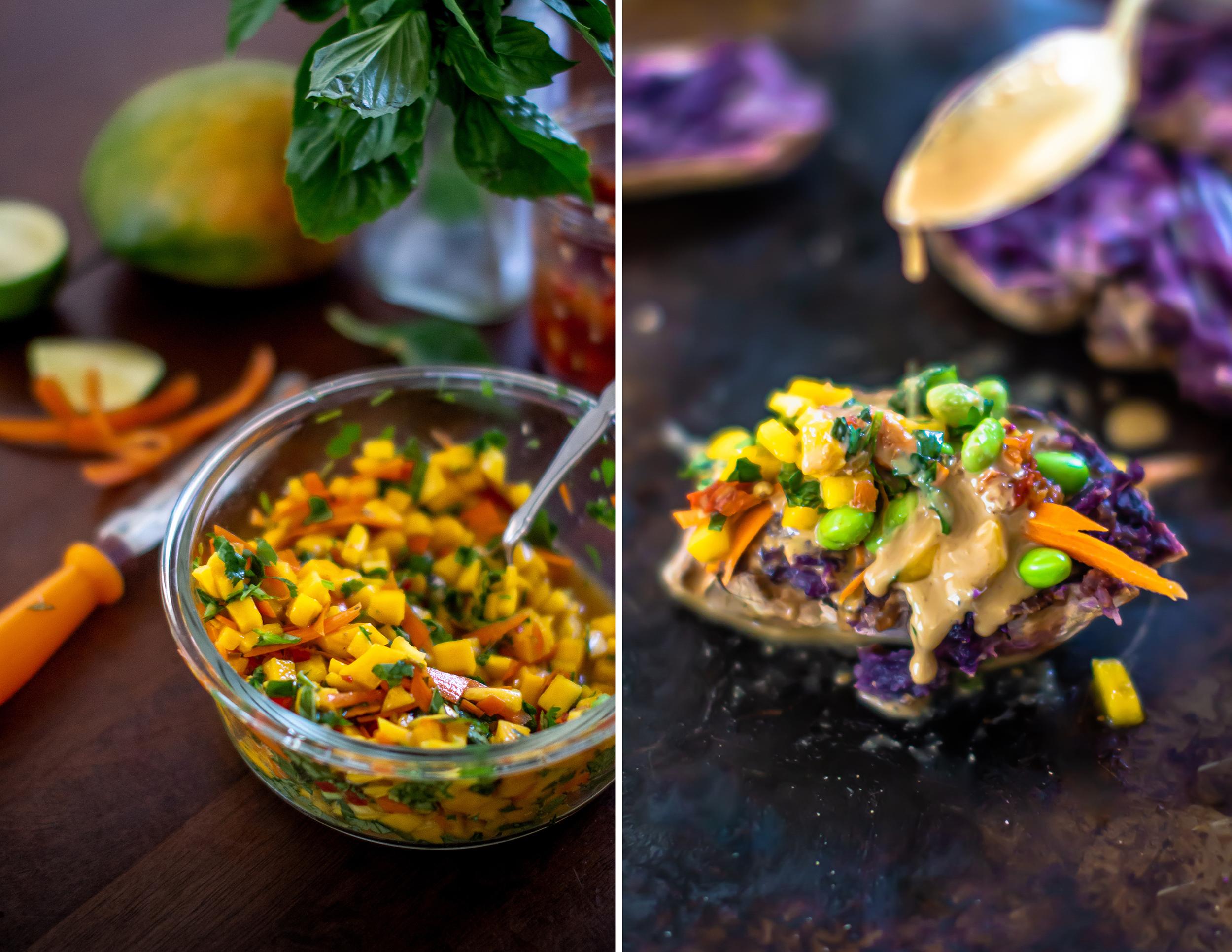Rainbow Smashed Purple Potatoes + 5 Spice Peanut Sauce | plantcrush.co